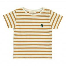 T-shirt Rayures Badge Bébé Caramel