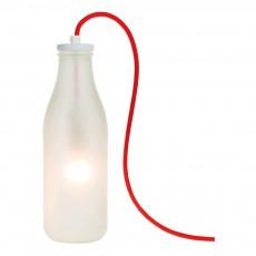 Lampe bouteille de lait verre givré avec câble Blanc