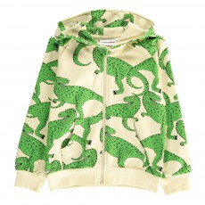 Sweat Coton Bio Zippé à Capuche T-Rex All Over Vert