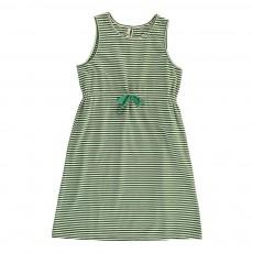 Robe Rayée Lien Taille Vert