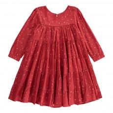Robe Volantée Etoiles Almeria Rouge framboise