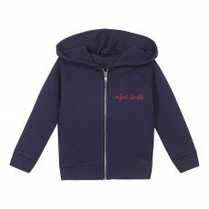 Sweat Capuche Zippé Brodé Enfant Terrible Bleu marine