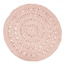 Tapis rond crochet Rose poudré