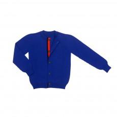 Cardigan Coton Cachemire Aqua Bleu roi