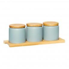 Bocaux en céramique et bois - Set de 3 Gris