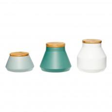 Bocaux et plateaux en céramique et bois - Set de 3 Multicolore