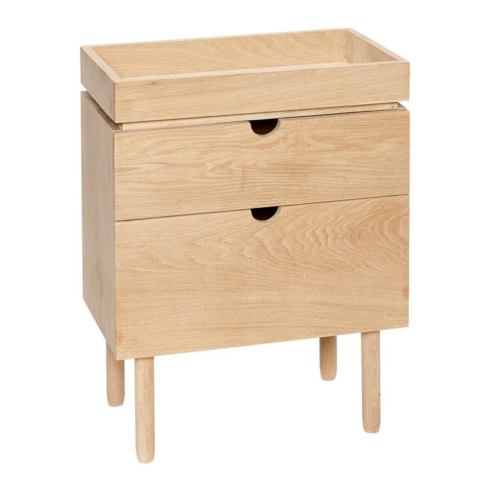 Table de nuit 2 tiroirs naturel h bsch mobilier smallable for Petite table de nuit
