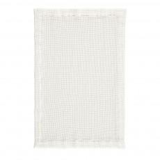Tapis de bain en gros nid d'abeille de lin 50X80 cm Blanc