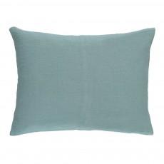 Housse de coussin en lin lavé Bleu Vert