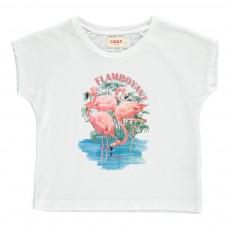 T-Shirt Flamant Rose Swan Blanc
