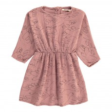 Robe Taille Resserrée Oiseaux All Over Vieux Rose