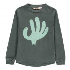 T-Shirt ML Oiseau Coton Bio Vert foncé