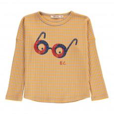 T-Shirt Loose Rayé Lunettes Jaune moutarde