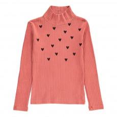 T-Shirt Col Roulé Cœurs Rouge