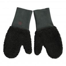 Moufles Fausse Fourrure Bicolores Noir