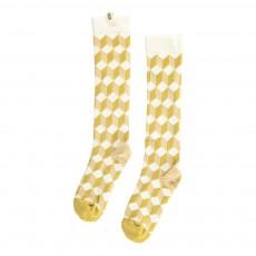 Chaussettes Géométriques Jaune moutarde