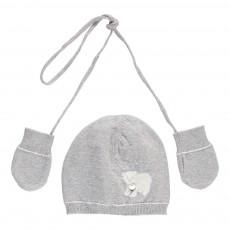 Bonnet Ourson   Moufles Gris chiné