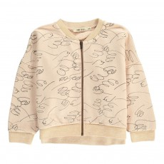 Sweat Zippé Loose Oiseaux All Over Beige rosé
