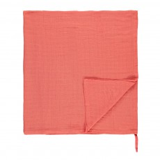 Lange-plaid 120x120 cm avec attache Corail