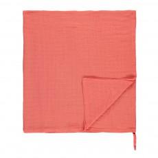 Lange-plaid en mousseline de coton 120x120 cm Corail