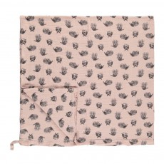 Lange-plaid lapin 120x120 cm avec attache Rose poudré
