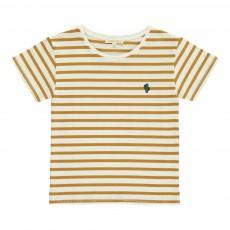 T-shirt Rayures Badge Caramel