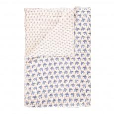 Plaid quilté réversible Eléphants Bleu