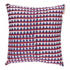 Coussin complet 30x30 cm Triangles - rouge et bleu