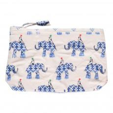 Trousse de toilette en coton quilté Eléphants Bleu