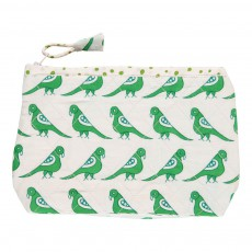 Trousse de toilette en coton quilté Oiseaux Vert