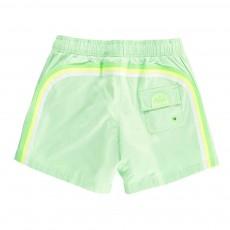 Short de Bain Uni Bande Tricolore Vert d'eau