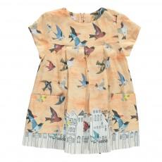Robe Plissée Oiseaux Evy Rose pêche