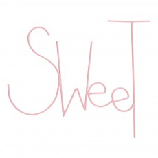 Mot Sweet en métal peint Rose pâle