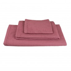 Set de 3 serviettes de toilette en nid d'abeille - Rose