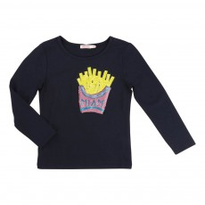 T-shirt Cornet Frites Sequins Bleu nuit