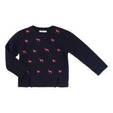 Pull Broderies Chiens Bleu nuit
