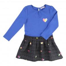 Robe Bi-matières Cœurs Bleu roi