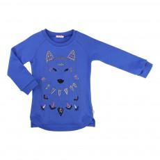 Robe Molleton Loup Brodé Bleu roi