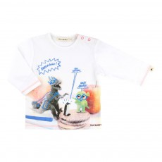 T-shirt Dinosaure Biscuits Blanc