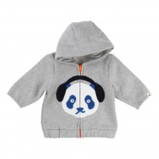 Sweat Zippé Capuche Panda Gris chiné