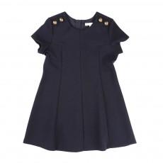 Robe Milano Boutons Epaules Bleu marine
