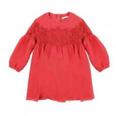 Robe Crêpe Guipure Rouge framboise