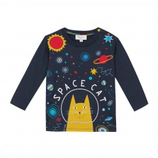 "T-shirt ""SPACE CAT"" Mike Bleu nuit"