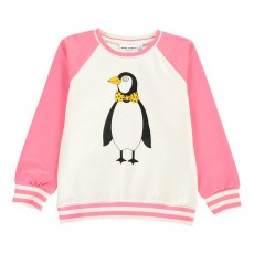 Sweat Pingouins Coton Bio Rose fuschia