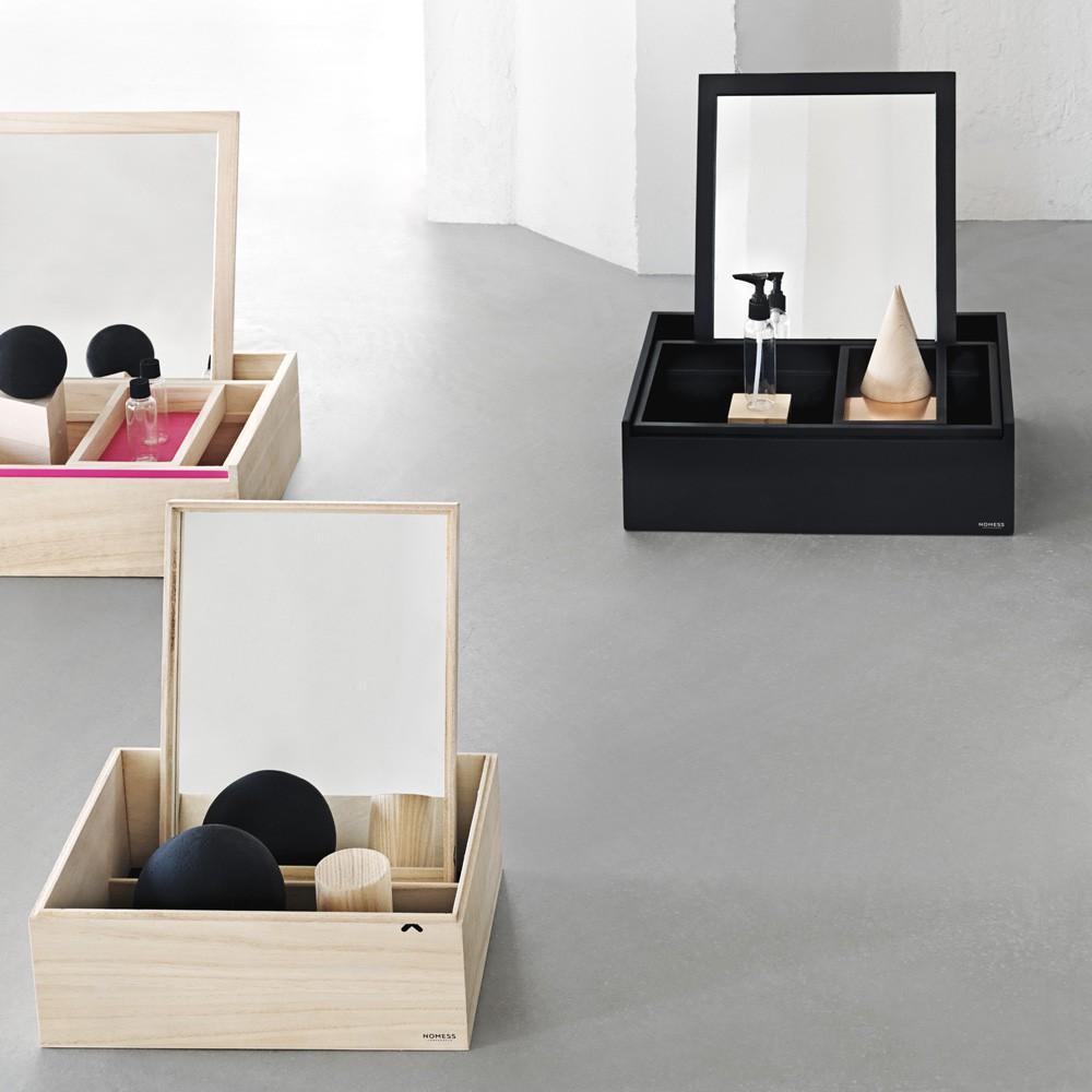 Aufbewahrungsbox mit spiegel balsabox schwarz nomess copenhagen ...