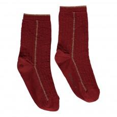 Chaussettes Côtelées Détails Lurex Ewloe Rouge brique