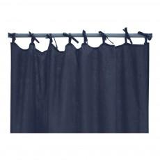 Rideau en Lin lavé avec nouettes Bleu marine