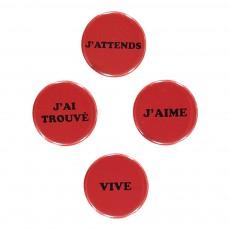 Lot de 4 Badges Rouge
