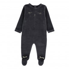 Pyjama Velours Yeux Zélie Gris anthracite