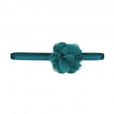 Headband Pompon Fleur Bleu pétrole